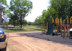 Ultra Stone Slinger placing P stone around playground structure