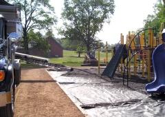 Ultra Stone Slinger placing P-stone around playground structure